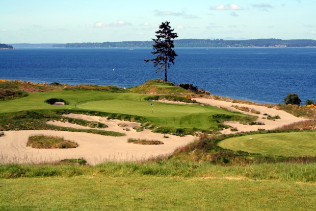 Chambers Bay's signature par-3, the 139-yard 15th, better known as Lone Fir